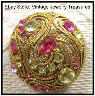 Vintage Unsigned CAPRI Pink Yellow Glass Rhinestone Gold Tone Filigree