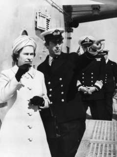 Queen Elizabeth and Prince Charles Touring the Warship HMS Norfolk
