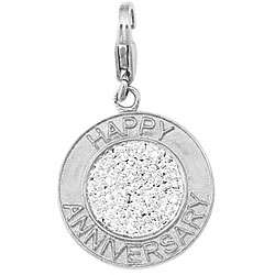 White Gold 1/10ct TDW Diamond Happy Anniversary Charm  Overstock