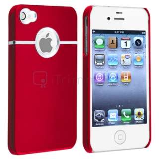 Red Rubber Hard Case Cover w/ Chrome Hole+PRIVACY Protector for iPhone