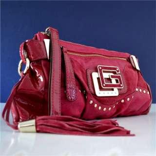 Guess Red Dream Genuine Suede Clutch Purse Bag 758193847802