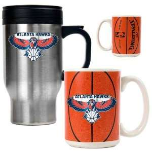 Atlanta Hawks NBA Stainless Steel Travel Mug & Gameball Ceramic Mug