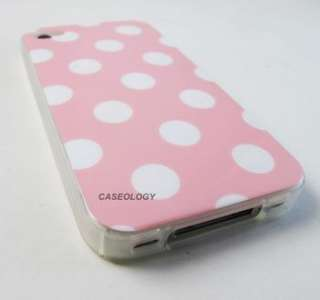 PINK WHITE POLKA DOTS HARD GEL SKIN COVER CASE APPLE IPHONE 4 4s PHONE
