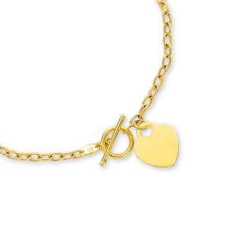 Heart Tag Toggle Necklace Chain REAL 14K Yellow Gold