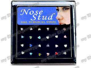 Lots 24 Crytsal CZ Nose Stud Pin Rings Body Pierce Jewelry W Display A