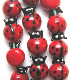 Red Black White Large Lady Bug Lampworked Glass Beads 4