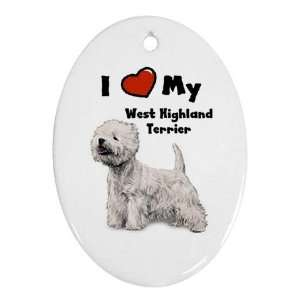 I Love My West Highland Terrier Westie Ornament (Oval