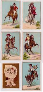VICTORIAN TRADE CARD LOT 6 HORSE RIDERS PIERROT 1860