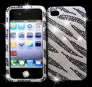Leopard Zebra Rhinestone Bling cover Case Fits iPhone 4 & 4s