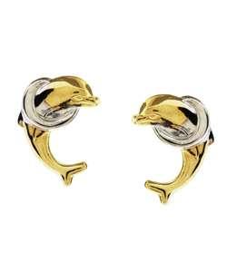 14k Two tone Gold Dolphin Earrings