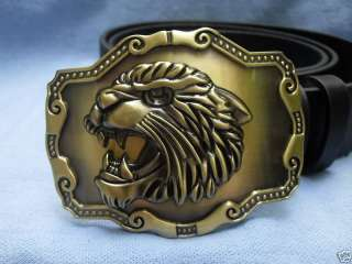 ROARING LION HEAD TIGER BIG CAT BUCKLE + LEATHER BELT