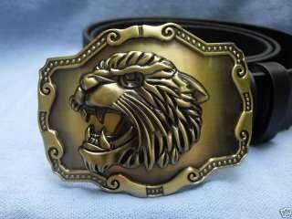 ROARING LION HEAD TIGER BIG CAT BUCKLE + LEATHER BELT