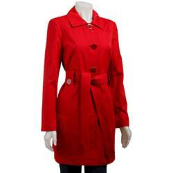 London Fog Womens Red Belted Trench Coat