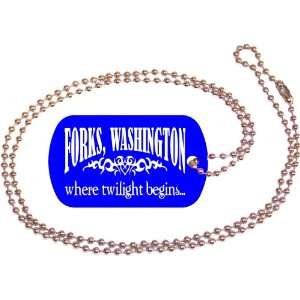 Forks Washington Blue Dog Tag with Neck Chain: Everything