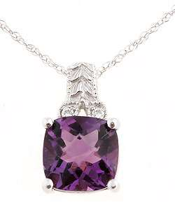 14k White Gold Diamond Amethyst Pendant