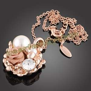 rose 18k gold GP pearl & SWAROVSKI crystal necklace 650