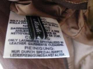 NEW Gimos Italy Leather Coat Jacket 2 Button Blazer Cognac Brown XL