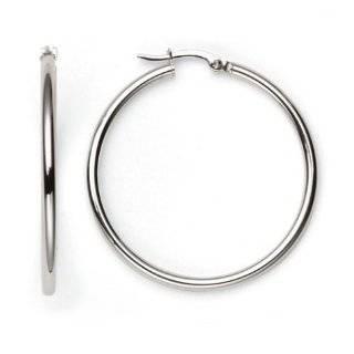 Duragold 14k White Gold Hoop Earrings, (0.80 Diameter) Jewelry