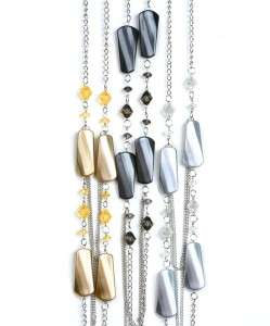 32 INCH SILVER TONE CHAIN WITH COLORED CHARMS NECKLACE SET (JN1083