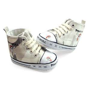 New Baby Toddler Boys Girls Pirate Skull High Top Canvas Shoes 3 18M