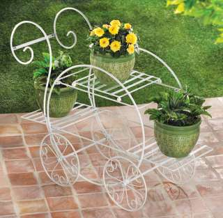 Metal French Flower Cart Plant Stand White Decorative