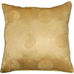 Chinese Dragons and Lotus Flower Gold Cushion Cover  Overstock
