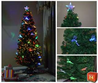 Artificial Pre Lit Christmas Tree with Star and Deers Fiber Optic