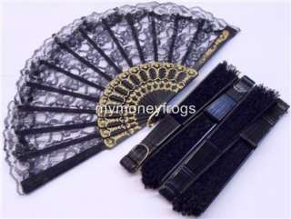 20 x LOT BLACK Bridal Wedding Party Lace Hand Asian Fan