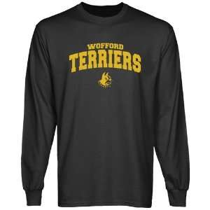 NCAA Wofford Terriers Charcoal Logo Arch Long Sleeve T shirt: