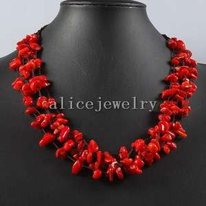 Red Coral Chip Necklace 20 GN090