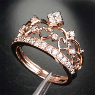HEART CROWN .57CT H/SI DIAMOND Solid 14K ROSE GOLD ENGAGEMENT Wedding