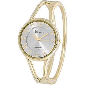 Geneva Platinum Ladies Polished Bangle Watch