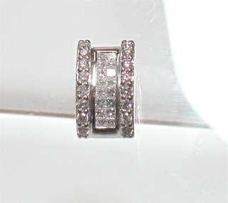 14k White Gold Natural Diamond Slide Charm Pendant 0.80 ctw