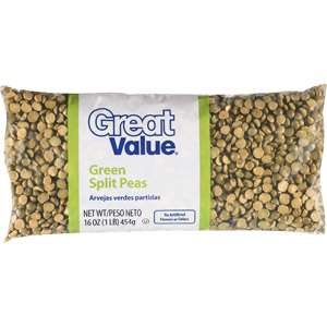 Great Value Green Split Peas, 6 Oz Meal Solutions