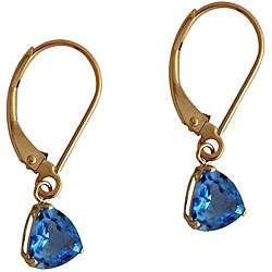 10k Yellow Gold Blue Topaz Trillion Leverback Earrings