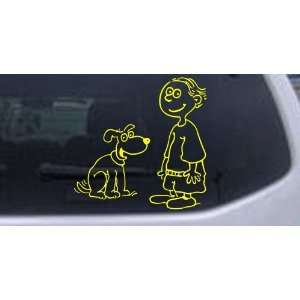 Yellow 6in X 6.0in    Child With Dog Stick Family Car Window Wall