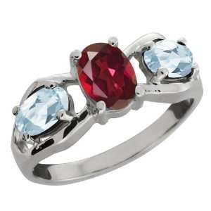 1.81 Ct Oval Ruby Red Mystic Topaz and Aquamarine Sterling