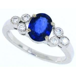 1.66 ct Genuine Sapphire Diamond Engagement Ring in 14Kt