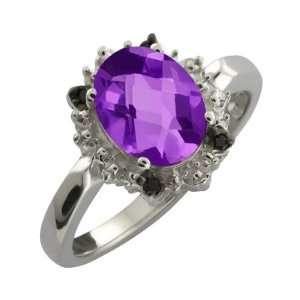 1.62 Ct Checkerboard Purple Amethyst and Diamond Argentium