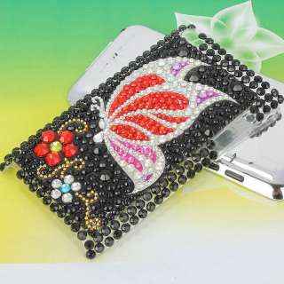 black beads butterfly bling back case cover for ipod touch 4g