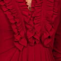 Maggy London Womens Ruffled V neck 3/4 sleeve Dress