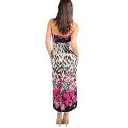 Stanzino Womens Ivory Fuschia Floral Long Plus size Dress