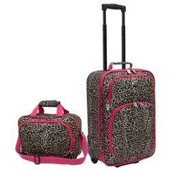 Pink Leopard Fashion 2 piece Carry on Luggage Set