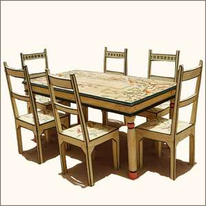 Sierra Solid Wood Rustic Painted 7Pc FARM Dining Table Chair Set for 6