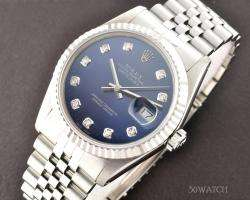 ROLEX MENS WHITE GOLD DATEJUST BLUE DIAMOND DIAL WATCH