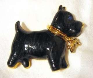 Black Enamel Schnauzer Terrier Pin Brooch Rhinestones