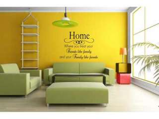 HOME FRIENDS FAMILY ~ Wall Decal Decor Vinyl Quote Lettering Words 36