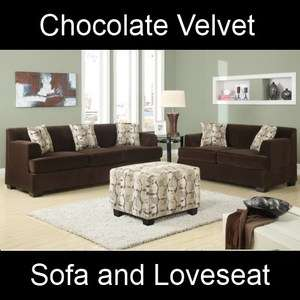 Chocolate Velvet Fabric Couch Sofa and Loveseat Set F7438 F7437