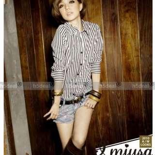 Fashion Korean Women Slim Crew Stripe T Shirts Top O