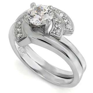 6mm CZ STERLING Silver Wrap Cubic Zirconia Wedding Ring Set s 7